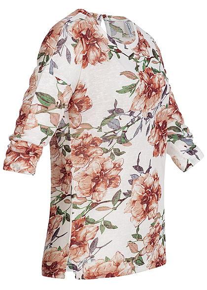 Seventyseven Lifestyle Damen 3/4 Arm Shirt Blumen Print off weiss rot grün