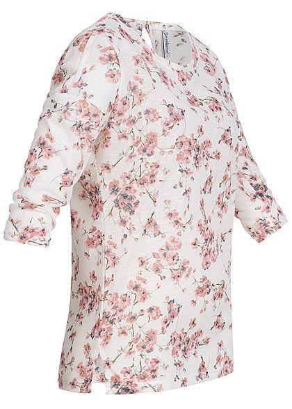 Seventyseven Lifestyle Damen 3/4 Arm Shirt Blumen Print off weiss rosa