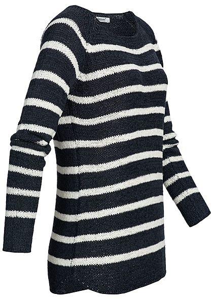 Seventyseven Lifestyle Damen Sweater Streifen Muster navy blau weiss