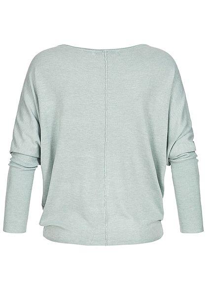 Seventyseven Lifestyle Damen Sweater Fledermausärmel hell blau türkis