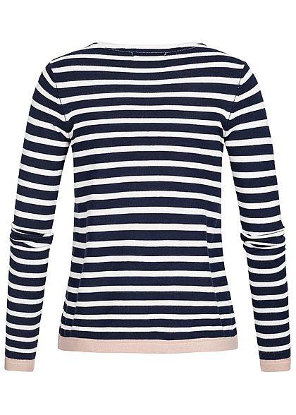 Seventyseven Lifestyle Damen Longsleeve Streifen Muster navy blau weiss rosa