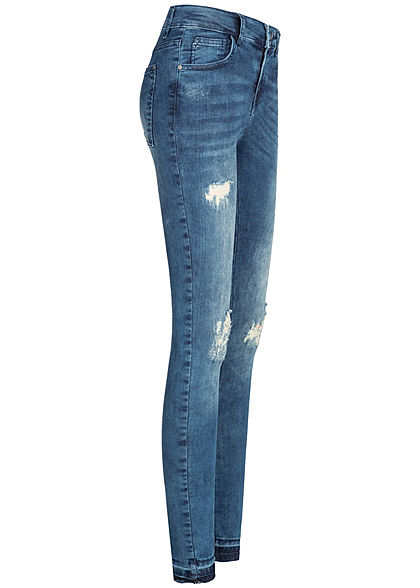 Seventyseven Lifestyle Damen Jeans Hose Destroy Look 5-Pockets medium blau denim
