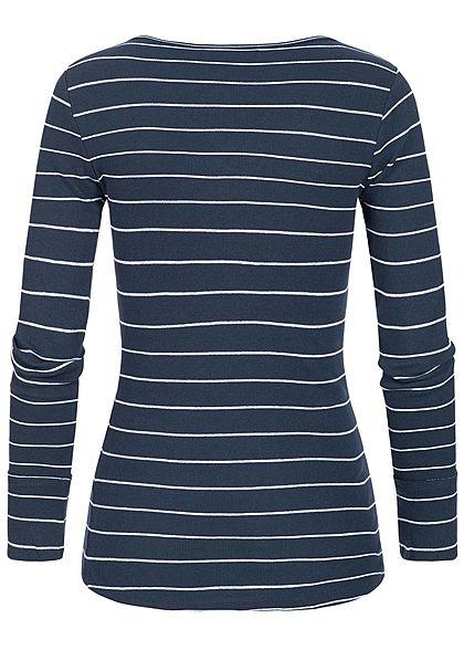 Seventyseven Lifestyle Damen Longsleeve Streifen Muster Schnürausschnitt navy blau