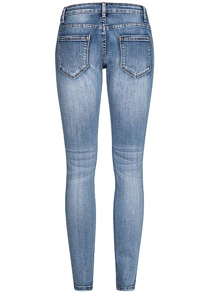 Seventyseven Lifestyle Damen Jeans Hose Destroy Look 5-Pockets medium blau denim