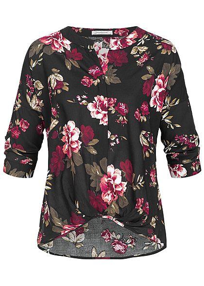 606e5a548cf0ae Seventyseven Lifestyle Damen 3/4 Arm Turn-Up Bluse Schleife Blumen Print  schwarz pink