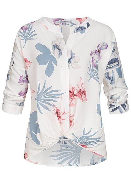 Seventyseven Lifestyle Damen 3/4 Arm Turn-Up Bluse Schleife Blumen Print weiss blau