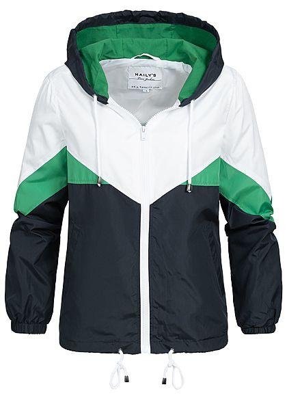 47707615c554d Hailys Damen Zip Hoodie Jacke Kapuze 2 Taschen Colorblock grün navy blau  weiss - 77onlineshop