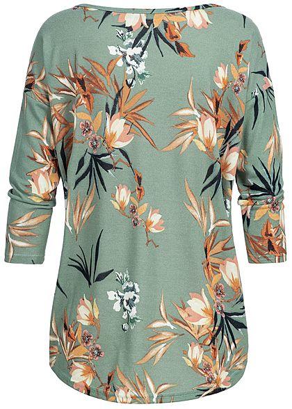 ONLY Damen NOOS 4/5 Arm Shirt Blüten Muster chinois grün flowers
