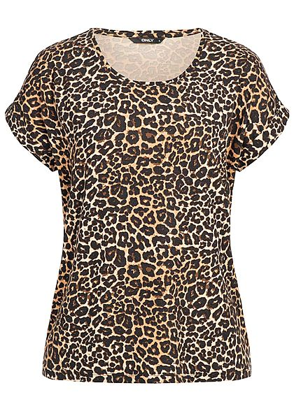 21e93c7cdf0ac8 ONLY Damen Shirt Leo Print NOOS schwarz braun - 77onlineshop