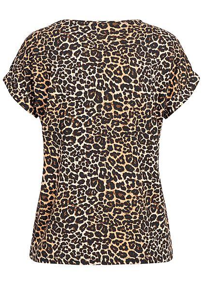 ONLY Damen NOOS T-Shirt Leo Print schwarz braun