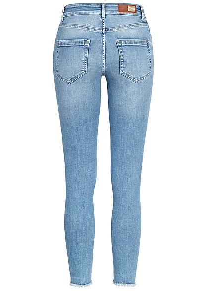 ONLY Damen NOOS Ankle Skinny Jeans Hose 5-Pockets Fransen Regular Waist hell blau denim