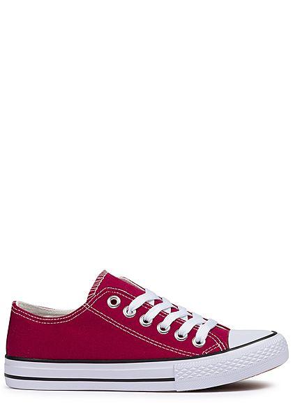 04f61b155d3266 Seventyseven Lifestyle Damen Schuh Canvas-Sneaker bordeaux wine rot -  77onlineshop