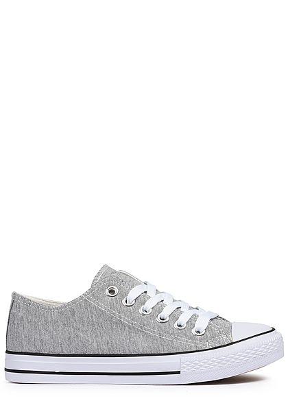 64354dfccf1bda Seventyseven Lifestyle Damen Schuh Canvas-Sneaker hell grau - 77onlineshop