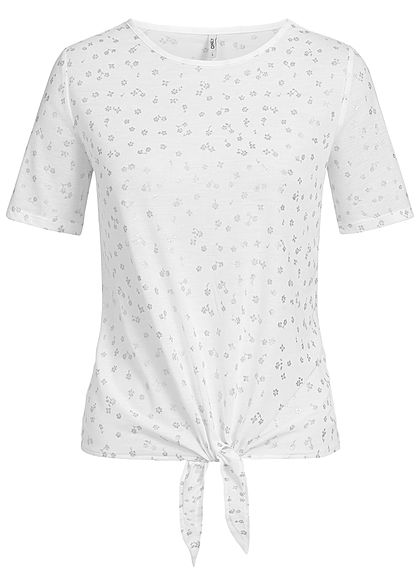 ONLY Damen T-Shirt Blumen Muster cloud dancer weiss silber