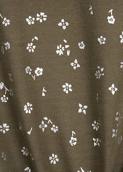 ONLY Damen T-Shirt Blumen Muster crocodile olive grün silber