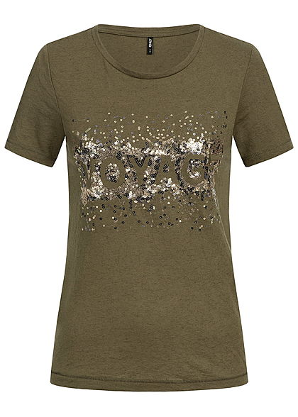 ONLY Damen T-Shirt Pailletten crocodile olive grün