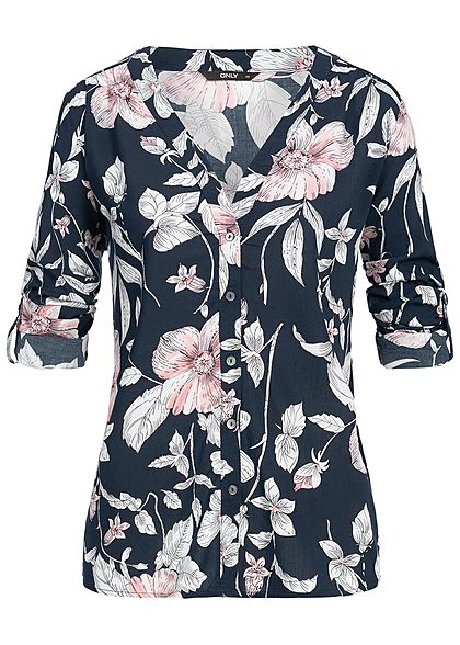 03ff591d3bb9fc ONLY Damen Turn-Up Bluse Blumen Muster night sky navy blau rosa weiss -  77onlineshop