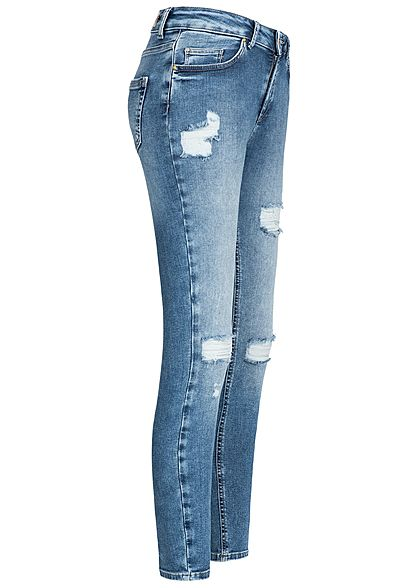 ONLY Damen Ankle Skinny Jeans Hose 5-Pockets Destroy Look medium blau denim