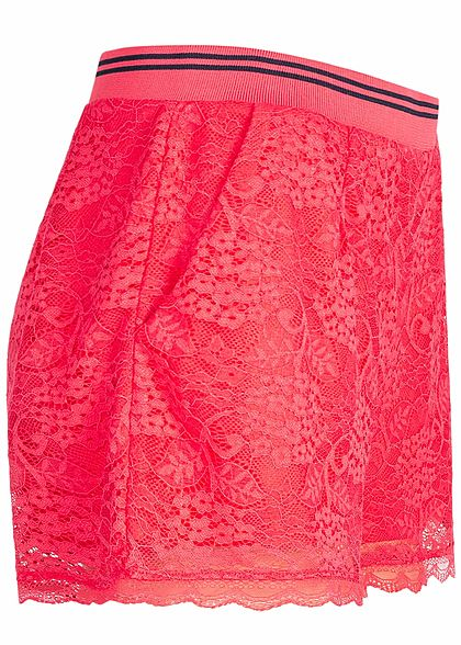 ONLY Damen Lace Shorts 2 Layer geranium rot