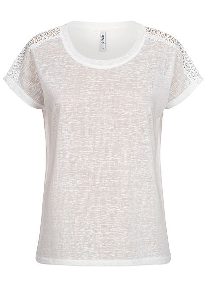 Hailys Damen Crochet T-Shirt off weiss