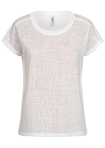 92b67a426d1663 Hailys Damen Crochet T-Shirt off weiss - 77onlineshop