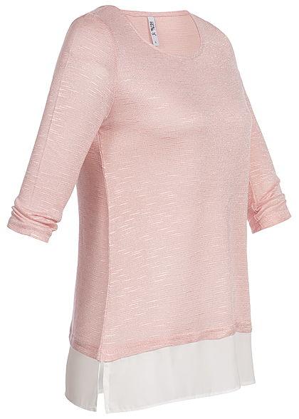 Hailys Damen 2in1 3/4 Sleeve Shirt Allover Glitter rosa