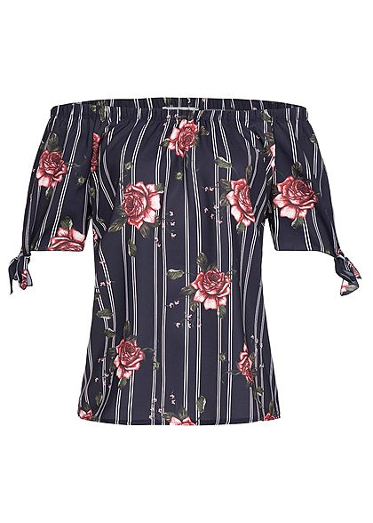 Hailys Damen Off-Shoulder Bow Sleeve Shirt Striped Flower Print navy blau