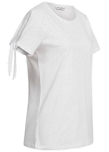 Zabaione Damen T-Shirt Points Print weiss schwarz