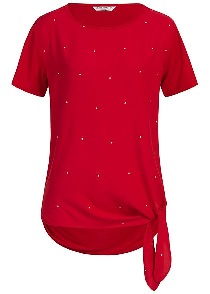 Zabaione Damen T-Shirt Points Print Tie-Knot rot silber