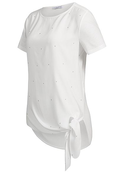 Zabaione Damen T-Shirt Points Print Tie-Knot weiss silber