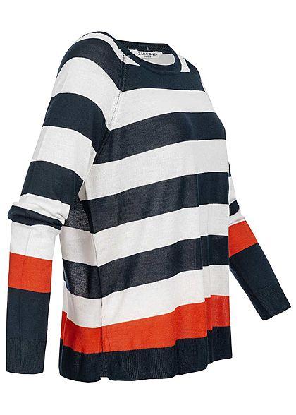 Zabaione Damen Oversized Striped Longsleeve navy blau weiss rot
