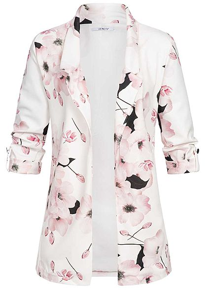 Hailys Damen 3/4 Sleeve Blazer Flower Print off weiss rosa