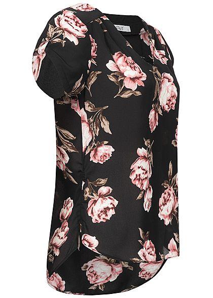 Hailys Damen V-Neck Chiffon Bluse Rosen Print Vokuhila schwarz rose