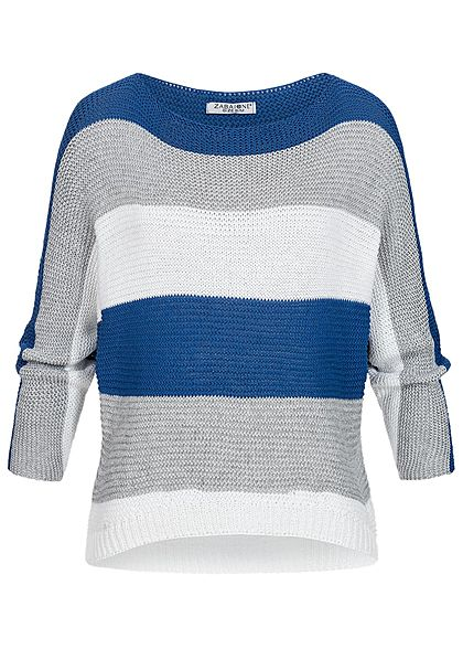 Zabaione Damen Bat Wings Knit Sweater Colorblock royal blau grau weiss