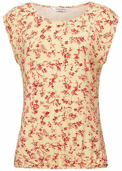 a310c86358102c Zabaione Damen T-Shirt Floral Print off white gelb rot - 77onlineshop