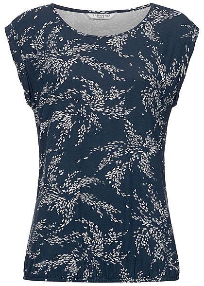 99dc6821c569c6 Zabaione Damen T-Shirt Floral Print navy blau weiss - 77onlineshop