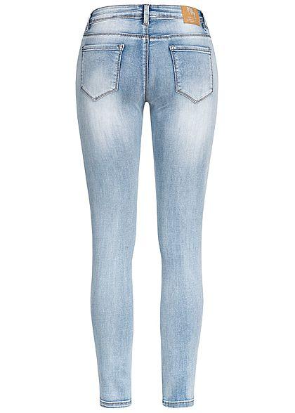 Hailys Damen Ankle Skinny Jeans Contrasting Stripes hell blau denim