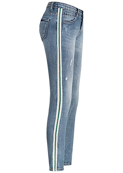 Hailys Damen Ankle Skinny Jeans 5-Pockets Crash Look hell blau denim