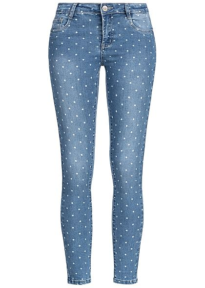Hailys Damen Ankle Skinny Jeans 5-Pockets Points Allover blau denim