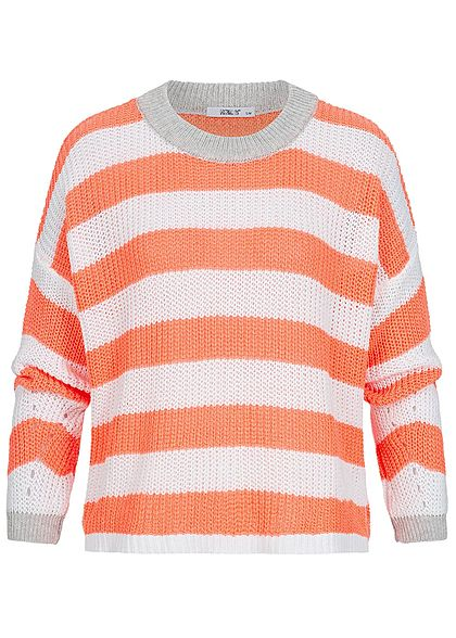 Hailys Damen Oversized Knit Sweater Colorblock coral orange weiss grau