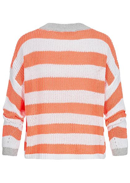 Hailys Damen Oversized Knit Sweater Colorblock coral orange weiss grau