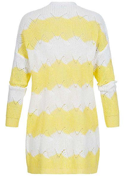 Hailys Damen Knit Cardigan 2-Tone gelb weiss