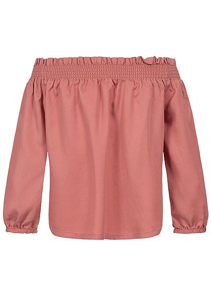 ONLY Damen 3/4 Sleeve Off Shoulder Shirt canyon rosa