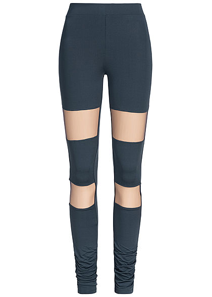 JDY by ONLY Damen Leggings Mesh Look sky captain blau