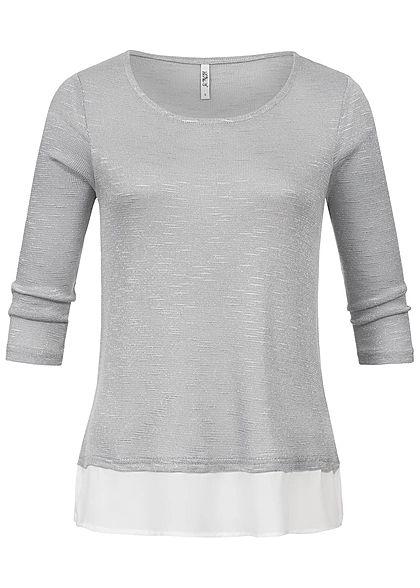 fd59ba5b01bd62 Hailys Damen 2in1 3 4 Sleeve Shirt Allover Glitter silber - 77onlineshop