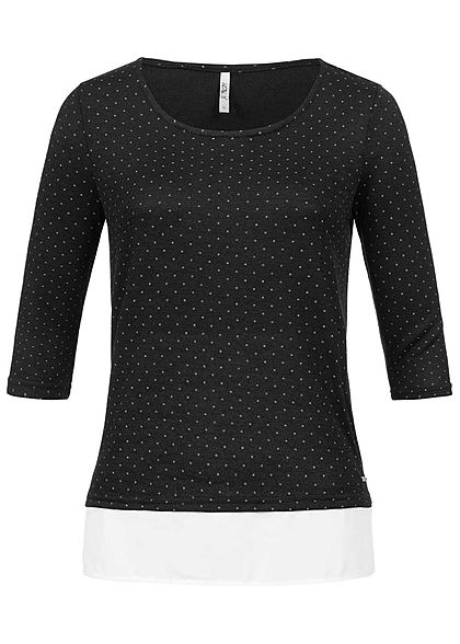 Hailys Damen 2in1 3/4 Sleeve Shirt Points Print schwarz