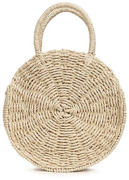 Hailys Damen Runde Jute Mini Handtasche 1-Zip-Pocket Durchmesser 24cm beige