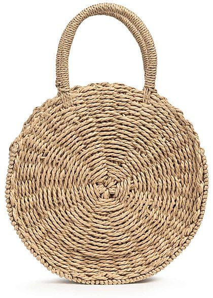 Hailys Damen Runde Jute Mini Handtasche 1-Zip-Pocket Durchmesser 24cm taupe braun