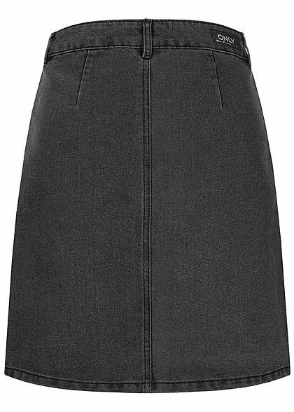 ONLY Damen NOOS Jeansrock mit Knopfleiste 4-Pockets schwarz denim