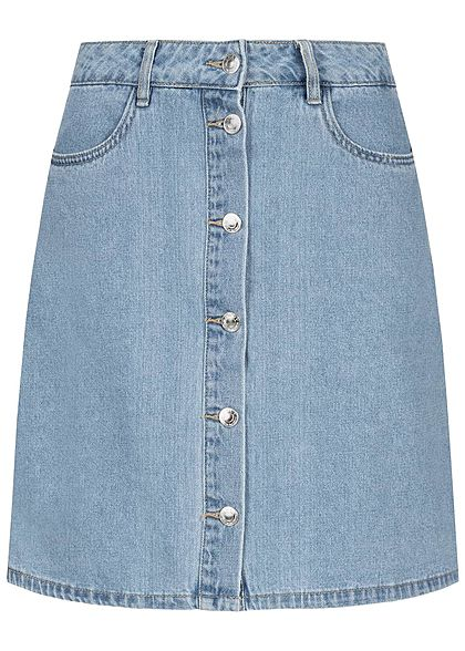 ONLY Damen Buttons Jeans Skirt 2-Pockets NOOS hell blau denim